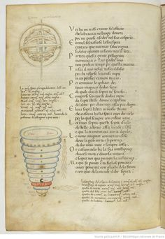 Illuminated manuscript showing an armillary sphere and a Ptolemaic cosmological diagram in the shape of an inverted cone.