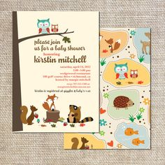 Baby Shower Invitation woodland creatures owls, squirrels, foxes