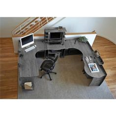 Made of solid maso bamboo plywood, this Legare Desk Printer Shelf with Solid Wood in Grey Driftwood Color adds a sleek look to your home office. Home Office Setup, Office Workspace, Home Office Design, Home Office Furniture, Large Corner Desk, L Shaped Corner Desk, U Shaped Gaming Desk, Desk For Two, Printer Shelf