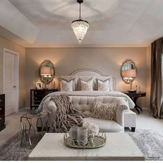 20 Most Romantic Bedroom Design and Decor Ideas to Fall in Love with - Romantic master bedroom - Blue Bedroom Decor, Apartment Bedroom Decor, Cozy Bedroom, Bedroom Furniture, Dream Bedroom, Cozy Master Bedroom Ideas, Furniture Mattress, Cozy Furniture, Black Furniture
