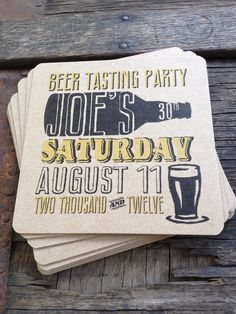 Personalized Beer Party Coasters Set of 8 For by twinebindery