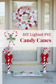 Lighted PVC Candy Canes Tutorial Christmas Holiday Decoration | DIYShowOff