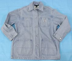 Lauren Ralph Lauren Denim Chore Jacket Sz M Coat Blue Cotton Mechanic Conductor #LaurenbyRalphLauren #BasicCoat #Outdoor