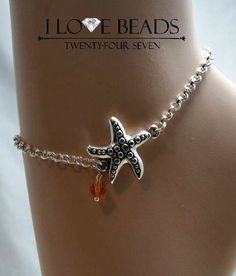 silver starfish anklet-anklets-silver anklets-stainless steel anklet- sterling anklet-anklet jewelry-non tarnish anklet-anklets
