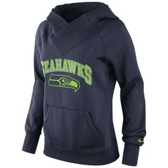 Nike Seattle Seahawks Ladies Wildcard Pullover Performance Hoodie - Navy Blue (I might be a big jets fan but I love the Seahawks new look since Nike took over)