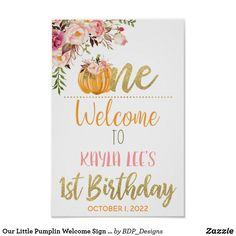 Our Little Pumplin Welcome Sign - Girl Christmas Photo Cards, Christmas Photos, Holiday Cards, Note Cards, Thank You Cards, Pumpkin First Birthday, Stationery Paper, Office And School Supplies, Halloween Christmas