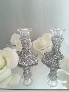 Glitter embellished Candles holders set of by DivineTableCreations, $16.00