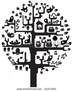 stock vector : Silhouette of stylized tree with inhabitants