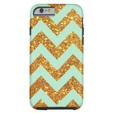 Turquoise Jade Girly Gold Glitter Chevron Pattern iPhone 6 Case