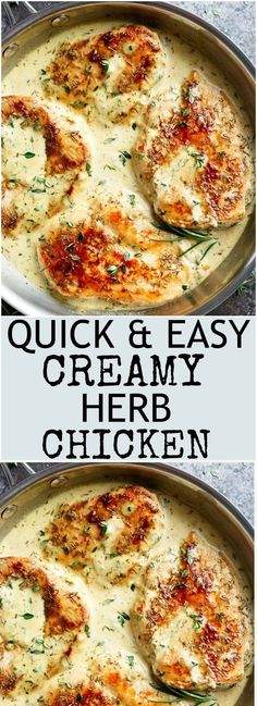 Quick And Easy Creamy Herb Chicken, filled with so much flavour, ready and on yo. - Food - Quick And Easy Creamy Herb Chicken, filled with so much flavour, ready and on your table in 15 minu - Herb Chicken Recipes, Creamy Chicken Breast Recipes, Chicken Beast Recipes, Garlic And Herb Chicken, Herb Recipes, Quick Easy Chicken Recipes, Creamy Chicken Bake, Recipes With Chicken Fillets, Chicken With Rosemary