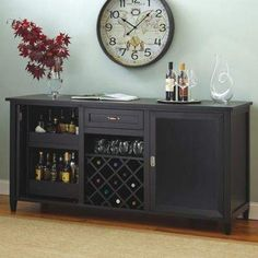 Firenze Wine and Spirits Credenza with 28 Bottle Touchscreen Wine Refrigerator (Nero) - Wine Enthusiast Wine Hutch, Wine Buffet, Buffet With Wine Rack, Sideboard With Wine Rack, Wine Refrigerator, Wine Fridge, Wine Credenza, Best Wine Coolers, Bar Console