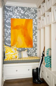10 Reasons to Turn to Bright Hues in Winter When it's gloomy outside, consider energizing your home and boosting your mood with bold color inside. Transitional Entry by Tobi Fairley Interior Design