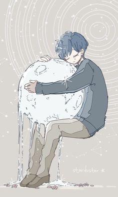 《 ♡ 》hugging the moon Art Anime, Anime Kunst, Manga Art, Kunst Inspo, Art Inspo, Art And Illustration, Pretty Art, Cute Art, Aesthetic Art
