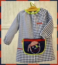 Batas de Guardería | Bordado PIRATA Sewing Tutorials, Playroom, Apron, Baby Kids, Outfits, Clothes, Fashion, Sewing Ideas, Craft