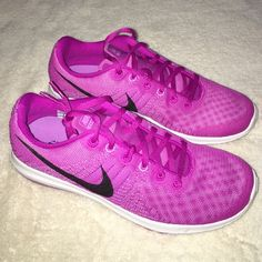 NEW! Nike Women's Flex Fury Purple Shoes 8 new! never worn! perfect condition! Women's Flex Fury. size: 8. color: Purple, White, & Black. purchased price: $90. Perfect for Spring exercising wear! Nike Shoes Sneakers