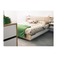 ikea mandal bed frame w headboard 140x202cm birch white - Storage Bed Frames