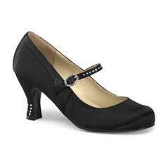 Black Satin Flapper Style Rhinestone Kitten Heels