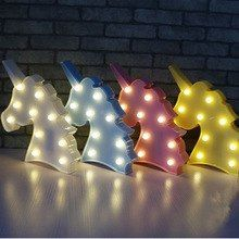 Led Lamps Dropshipping 3d Unicorn Led Night Light Bedroom Marquee Lamps For Diy Christmas Party Decor Wedding New Year Kids Gifts