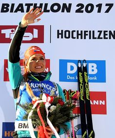 Gabriela Koukalova of Czech Republic reacts on the podium after winning   the Women's 7,5 km Sprint race during the 2017 IBU Biathlon World Championships in Hochfilzen, on February 10, 2017.    / AFP / FRANCK FIFE