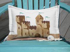 Sand castle 15x20 pillow lumbar indoor outdoor by crabbychris, $38.00