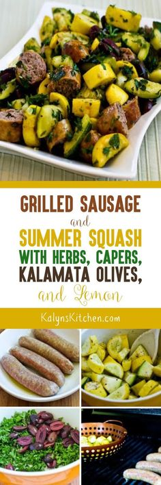 This Grilled Sausage and Summer Squash with Herbs, Capers, Kalamata Olives, and Lemon is an EASY and delicious recipe that can help you use up the zucchini. Skip the olives and capers if you're cooking for kids and this will still be delicious, and this tasty recipe is low-carb, gluten-free (with gluten-free sausage) and South Beach Diet Phase One. [found on KalynsKitchen.com]
