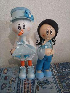 Muñecas Fofuchas Embarazadas Y Cigueñas Baby Shower - $ 90.00 en Mercado Libre