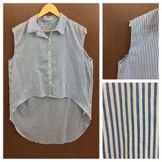 Last few pieces remaining: Stylish Blue Whit..., visit http://ftfy.bargains/products/stylish-blue-white-stripes-high-low-sleeveless-shirt?utm_campaign=social_autopilot&utm_source=pin&utm_medium=pin  #amazing #affordable #fashion #stylish