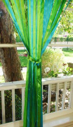 Fun ribbon drapery panelsTurquoise/Lime Green