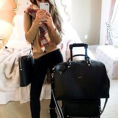 Henri Bendel briefcase and luggage- love the timeless beauty of these classic black leather pieces. Can't wait to start carrying my laptop and work goodies in style soon! Black skinny jeans paired with tan/camel cashmere sweater and plaid blanket scarf create a comfy and simple, yet chic, casual outfit.
