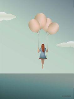 ViSSEVASSE print meisje met ballonnen - &SUUS