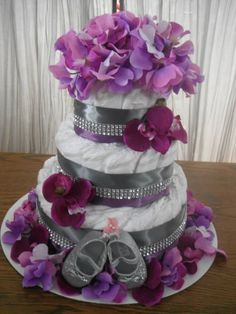 Purple and silver diaper cake....diaper cake for girl, baby shower gift, unique baby gift