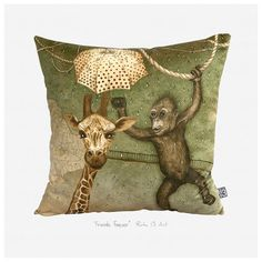 "Friends forever "" throw pillow cover - Lithuanian artist Rūta Dumalakaitė just released a set of original throw pillow covers digitally printed with her artwork. Every piece holds an inside story. Hidden dreams, feelings left behind, the power of imagination, the magic of nature, and things that we forget or fail to notice. $35 !!"