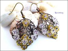 Antique Brass Filigree Earrings White Yellow Flowers Swarovski Crystal | specialtivity - Jewelry on ArtFire