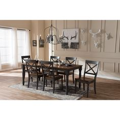 """Baxton Studio Rosalind Shabby Chic Country Cottage Weathered Dove Grey and """"""""Oak"""""""" Brown Finishing Solid Wood Top Dining Set Kitchen Dining Sets, 7 Piece Dining Set, Dining Room Sets, Dining Tables, Dining Room Paint Colors, Dining Room Walls, Classic Dining Room, Baxton Studio, Brown Wood"""