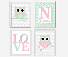 Pink Mint Nursery Wall Art Owl LOVE Personalize Name Art Chevron Quatrefoil Baby Girl Nursery Wall Art Baby Nursery Decor Owl Nursery Decor