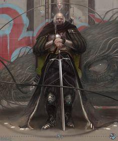 m Paladin Hvy Armor Cloak Greatsword Dragon Slayer urban City street med Dragon Slayer Armor, Character Concept, Character Design, Character Ideas, Dark Fantasy, Fantasy Art, Fantasy Characters, Fictional Characters, Fantasy Warrior
