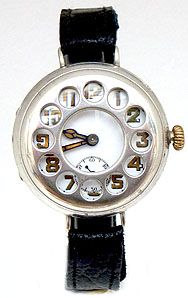 SILVER TELEPHONE DIAL TRENCH WRIST WATCH CIRCA 1916