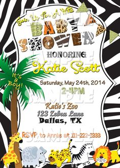 Printable Safari Baby Shower Invitation (Digital File Only) - Forever Fab Boutique