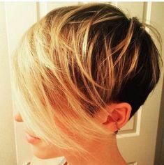 short hair-short hair cuts for women-short hair styles-short hair cuts- pixie cut-long bangs- blonde melt- dark roots-golden blonde