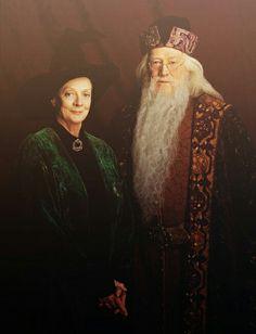 Minerva McGonagall (Dame Maggie Smith) &  Professor Albus Percival Wulfric Brian Dumbledore (Michael Gambon) - Harry Potter