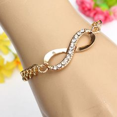 Gold Plated Rhinestone Crystal Infinity Link Chain Bracelet For Women at Banggood