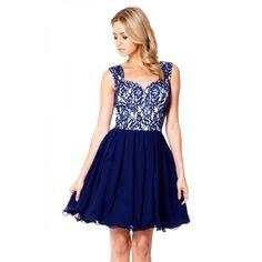 Navy Lace Chiffon Prom Dress - Quiz Clothing