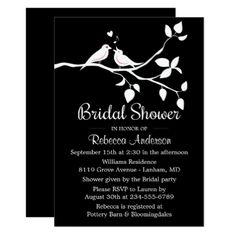 Black And White Bridal Shower Lovebirds Wedding Card - bridal shower gifts ideas wedding bride
