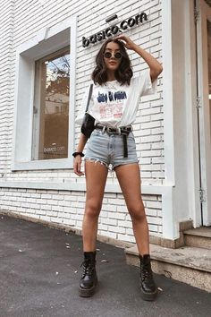 Cute Outfits With Shorts, Cute Casual Outfits, Short Outfits, Simple Outfits, Outfits For Teens, Fall Outfits, Summer Outfits, Fashion Outfits, 80s Fashion