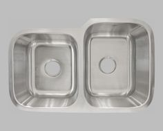 L202L Under Mount Double Stainless Steel Kitchen Sink (left)