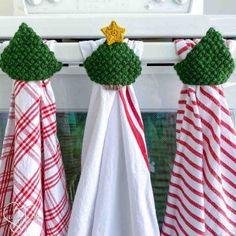Easy Kitchen Towel Topper Crochet Pattern Crochet Dish Towel | Etsy Crochet Tree, Crochet Stars, Easy Crochet, Free Crochet, Crochet Dish Towels, Crochet Towel Topper, Cute Christmas Tree, Crochet Christmas Trees, Modern Christmas