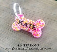 Small Bone Dog Tag Colorful Sprinkles Mini by GabriellesCreations
