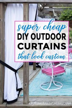 These DIY outdoor curtains are really easy to sew and are really cheap to make. Even cheaper than drop cloth curtains! They're perfect for adding privacy to your porch, patio or deck. Outdoor Curtains For Patio, Gazebo Curtains, Patio Diy, Patio Privacy, Diy Porch, Outdoor Fabric, Patio Ideas, Porch Ideas, Pergola Ideas
