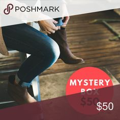 Mystery Box 4 Items for $50 The mystery box will contain 4 items which may include clothing, handbags, or accessories. Some of items will come directly from my Posh closet.   You may indicate which size you want. I only carry certain sizes because my items come from our personal closets (myself, sister, & Mom).  All items are in excellent condition and have reselling value if you choose to re-Posh.   If you don't like surprises then these boxes are not for you! I encourage you to take a…