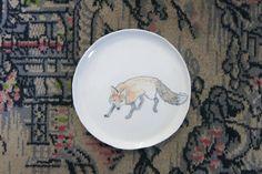 Ceramic Woodland Sneaky Fox Hand Drawn Fine by ShadyGrovePottery